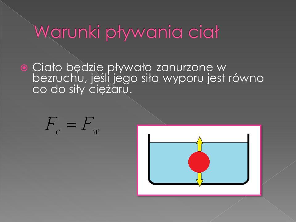 Warunki pływania ciał Ciało będzie pływało zanurzone w bezruchu, jeśli jego siła wyporu jest równa co do siły ciężaru.