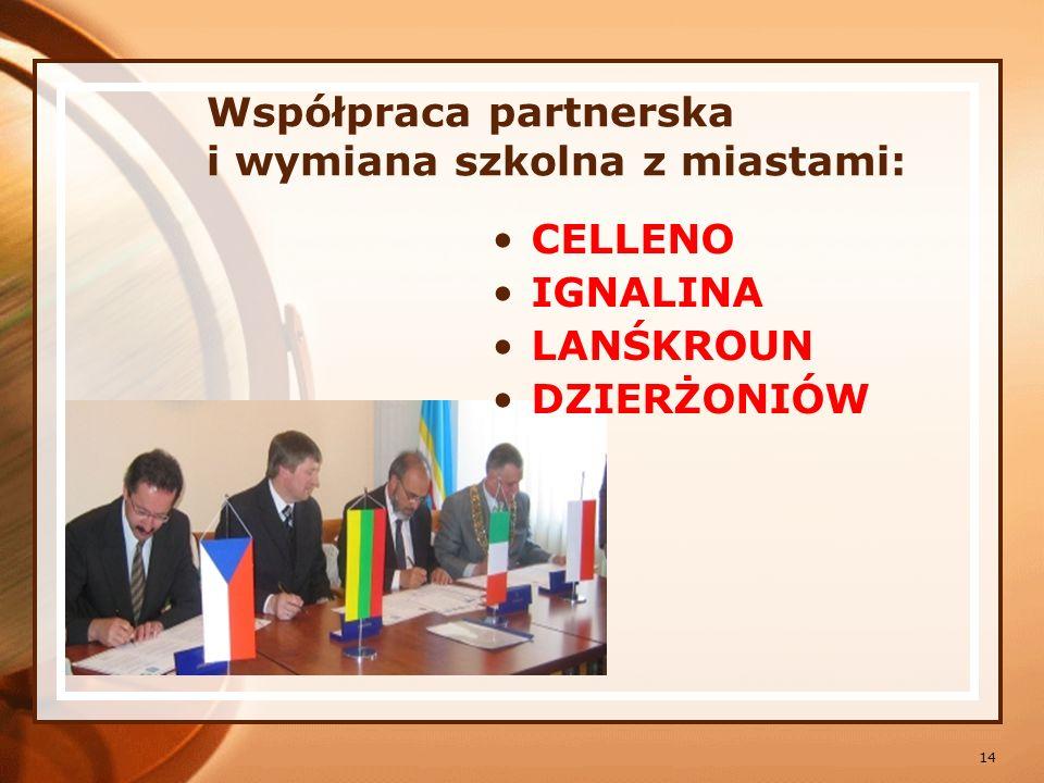 Współpraca partnerska i wymiana szkolna z miastami: