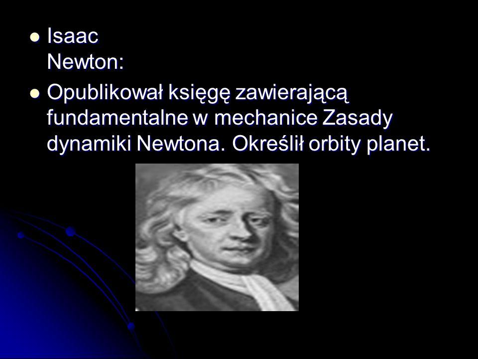 Isaac Newton: Opublikował księgę zawierającą fundamentalne w mechanice Zasady dynamiki Newtona.