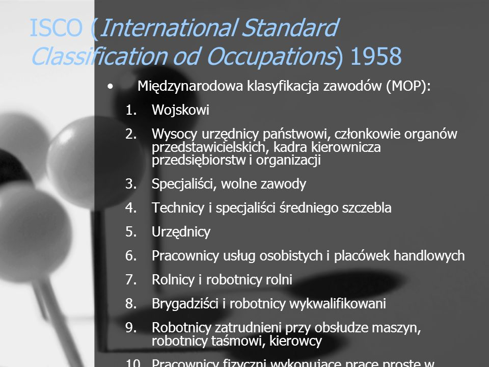 ISCO (International Standard Classification od Occupations) 1958