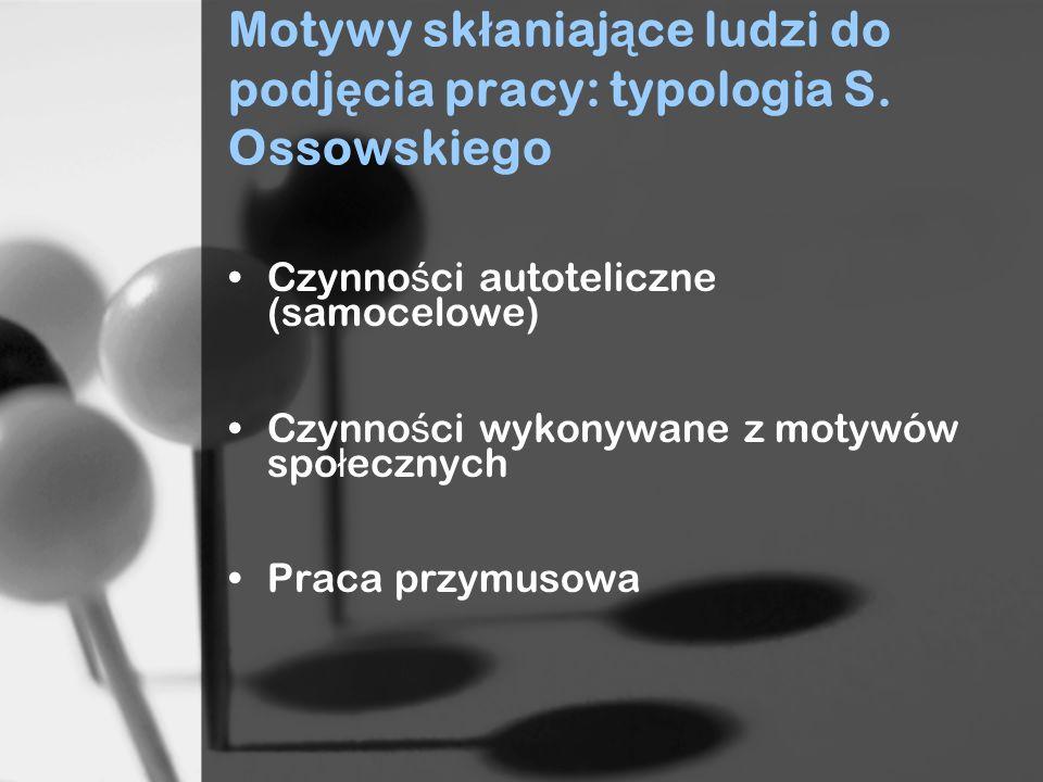 Motywy skłaniające ludzi do podjęcia pracy: typologia S. Ossowskiego