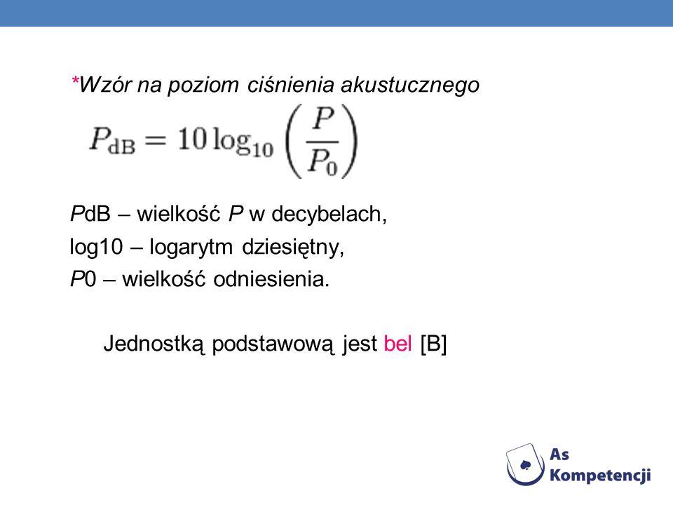 *Wzór na poziom ciśnienia akustucznego PdB – wielkość P w decybelach, log10 – logarytm dziesiętny, P0 – wielkość odniesienia.