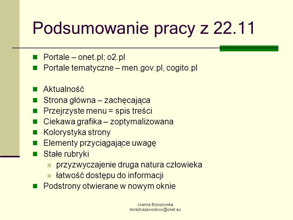 Podsumowanie pracy z 22.11 Portale – onet.pl; o2.pl