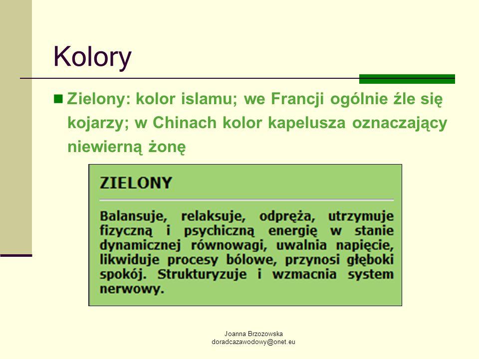 Kolory Zielony: kolor islamu; we Francji ogólnie źle się kojarzy; w Chinach kolor kapelusza oznaczający niewierną żonę.