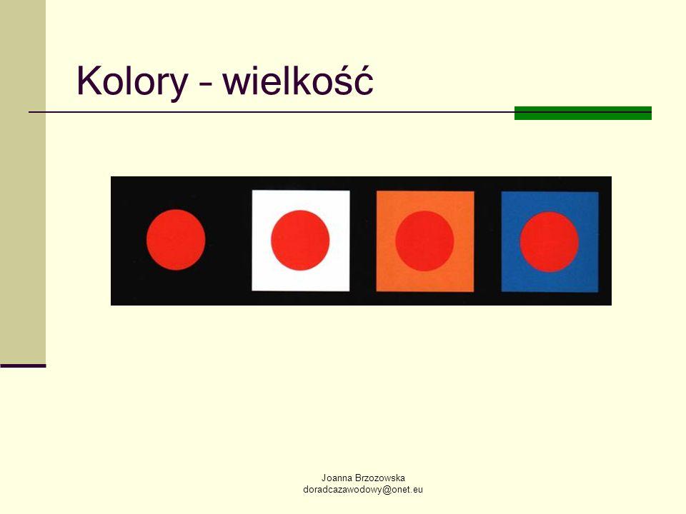 Kolory – wielkość Joanna Brzozowska doradcazawodowy@onet.eu