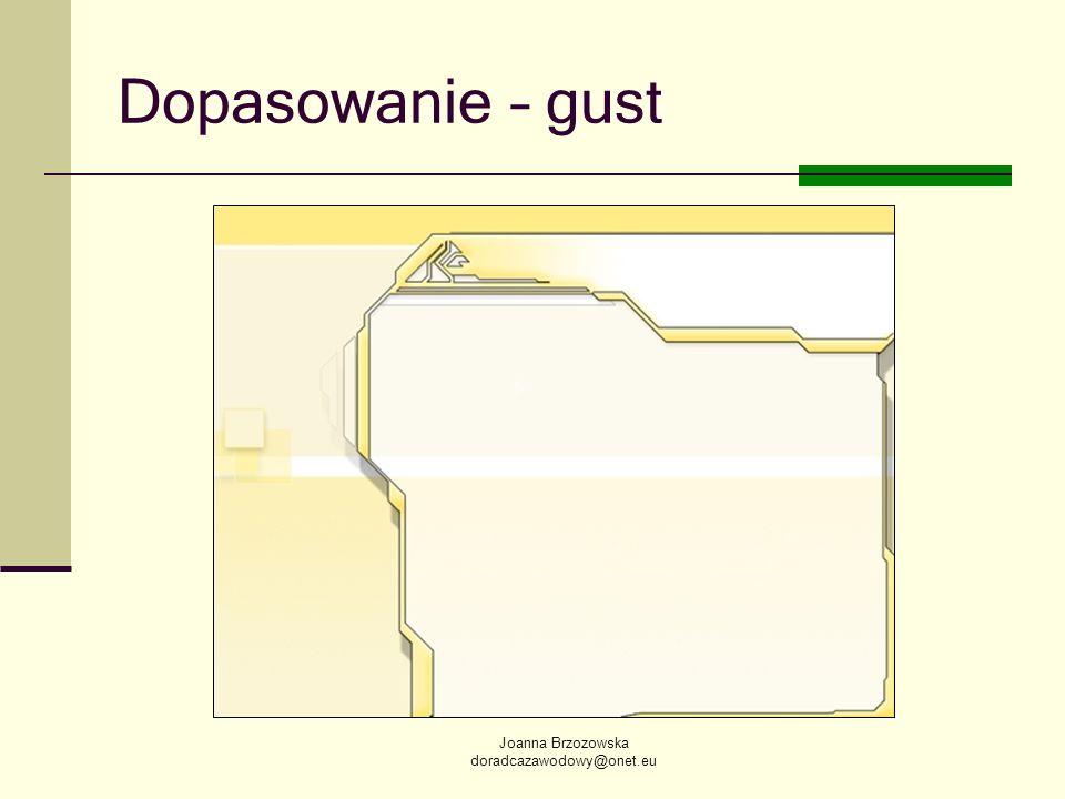 Dopasowanie – gust Joanna Brzozowska doradcazawodowy@onet.eu