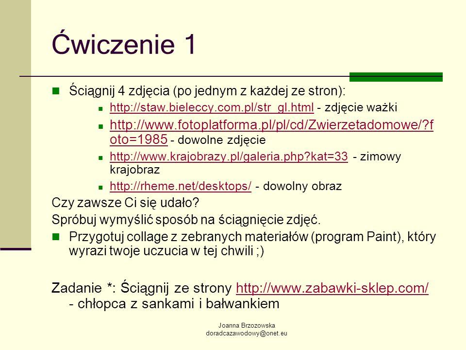 Ćwiczenie 1Ściągnij 4 zdjęcia (po jednym z każdej ze stron): http://staw.bieleccy.com.pl/str_gl.html - zdjęcie ważki.