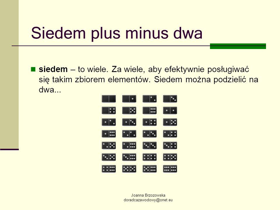 Siedem plus minus dwa siedem – to wiele. Za wiele, aby efektywnie posługiwać się takim zbiorem elementów. Siedem można podzielić na dwa...