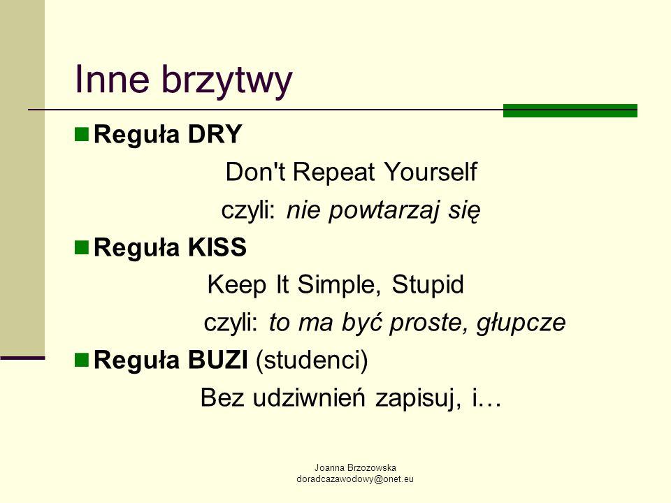 Inne brzytwy Reguła DRY Don t Repeat Yourself czyli: nie powtarzaj się