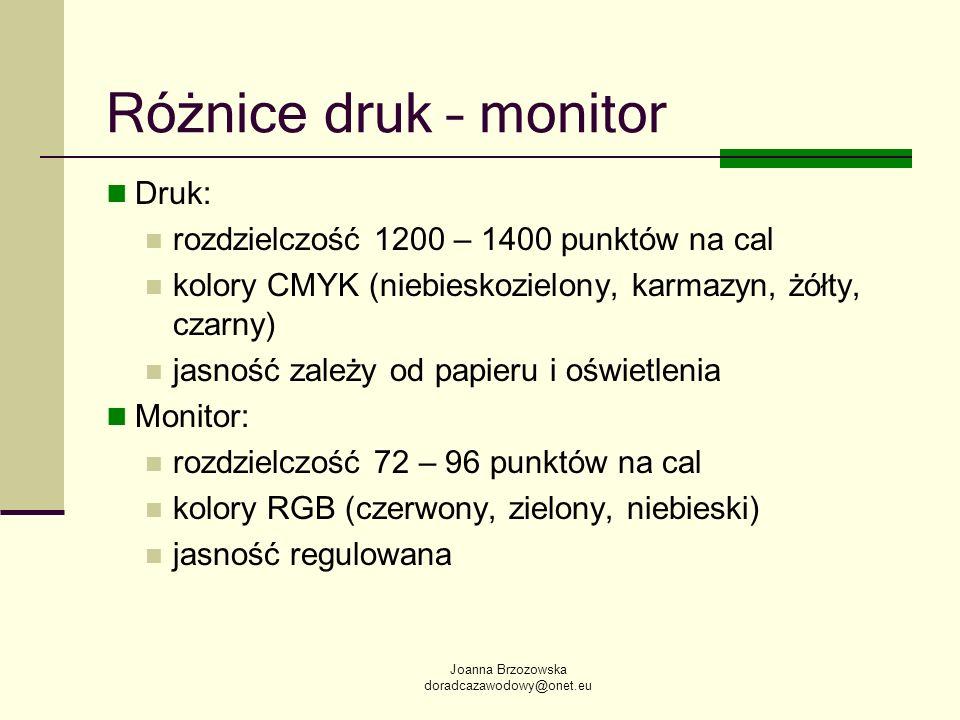 Różnice druk – monitor Druk: rozdzielczość 1200 – 1400 punktów na cal