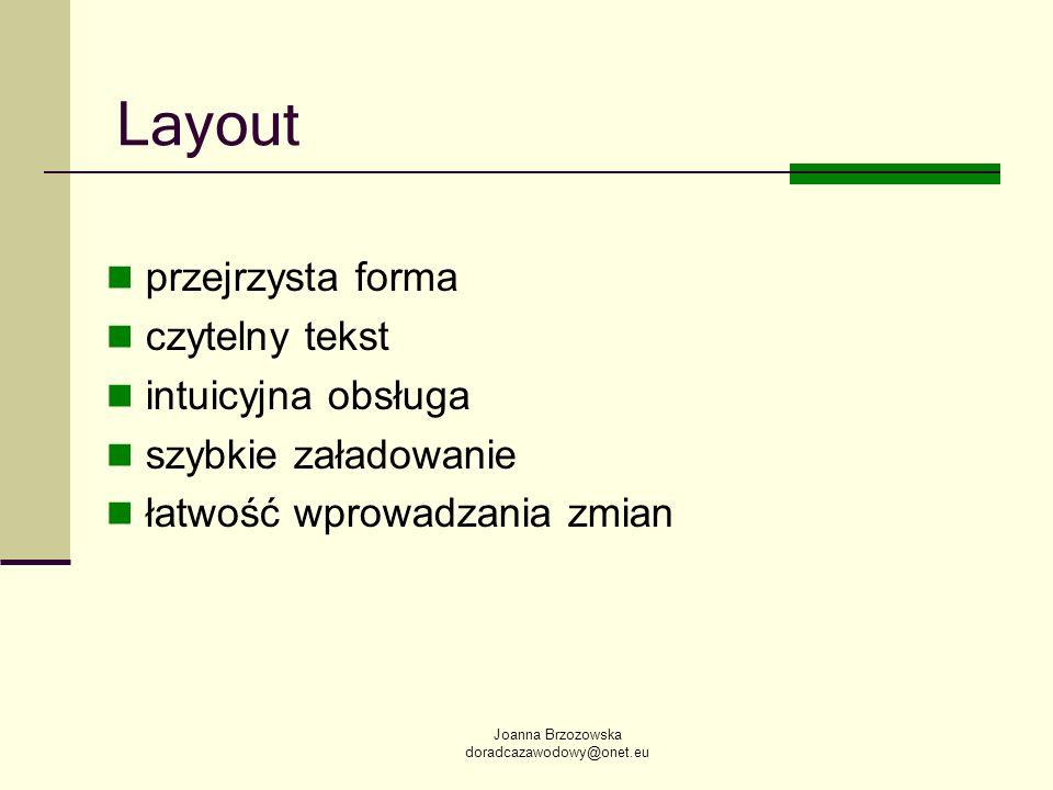 Layout przejrzysta forma czytelny tekst intuicyjna obsługa