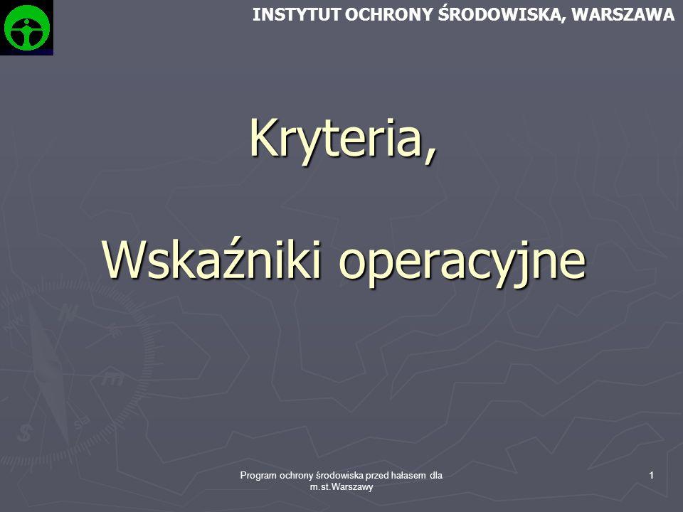 Kryteria, Wskaźniki operacyjne