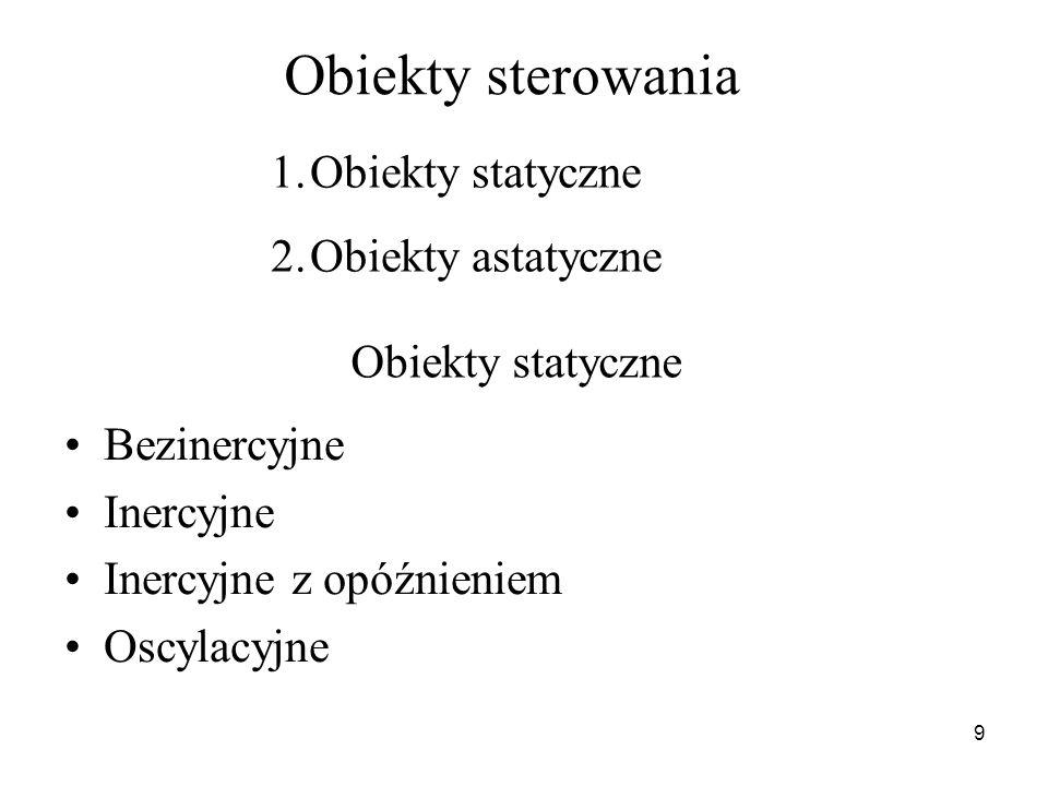 Obiekty sterowania Obiekty statyczne Obiekty astatyczne