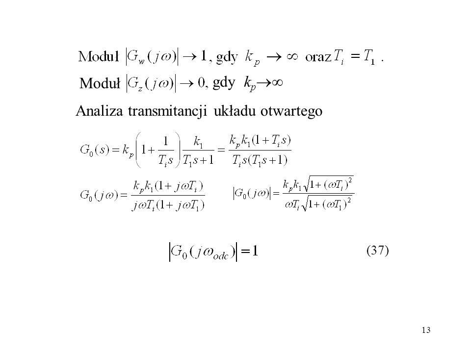 Analiza transmitancji układu otwartego