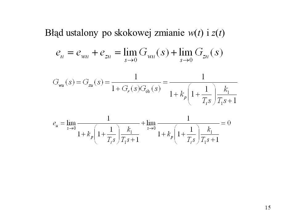 Błąd ustalony po skokowej zmianie w(t) i z(t)