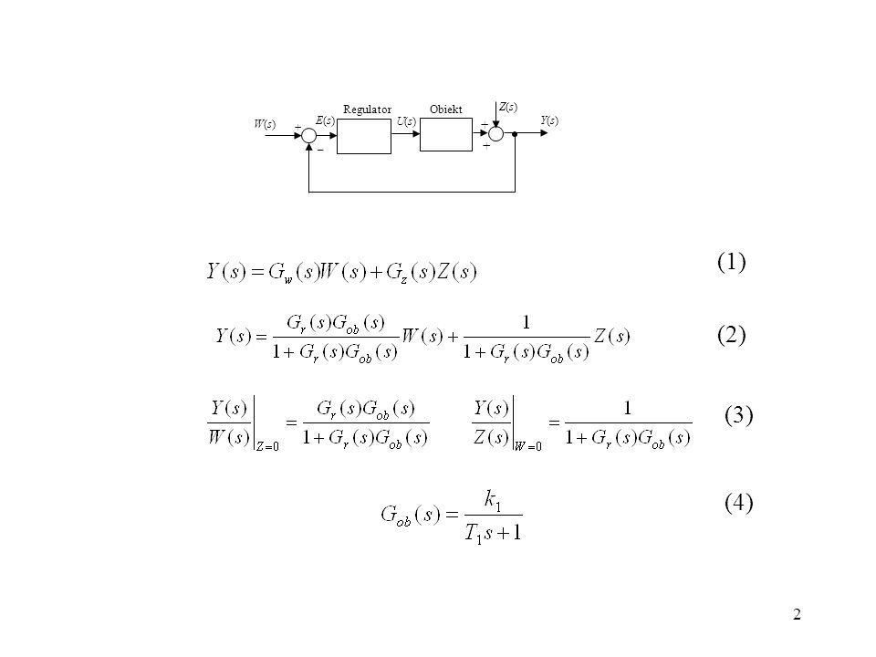 _ + W(s) U(s) E(s) Y(s) Regulator Obiekt Z(s) (1) (2) (3) (4)