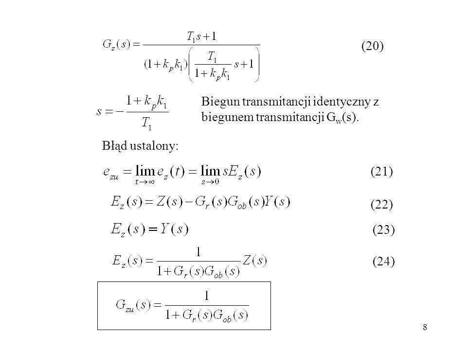 (20) Biegun transmitancji identyczny z biegunem transmitancji Gw(s). Błąd ustalony: (21) (22) (23)