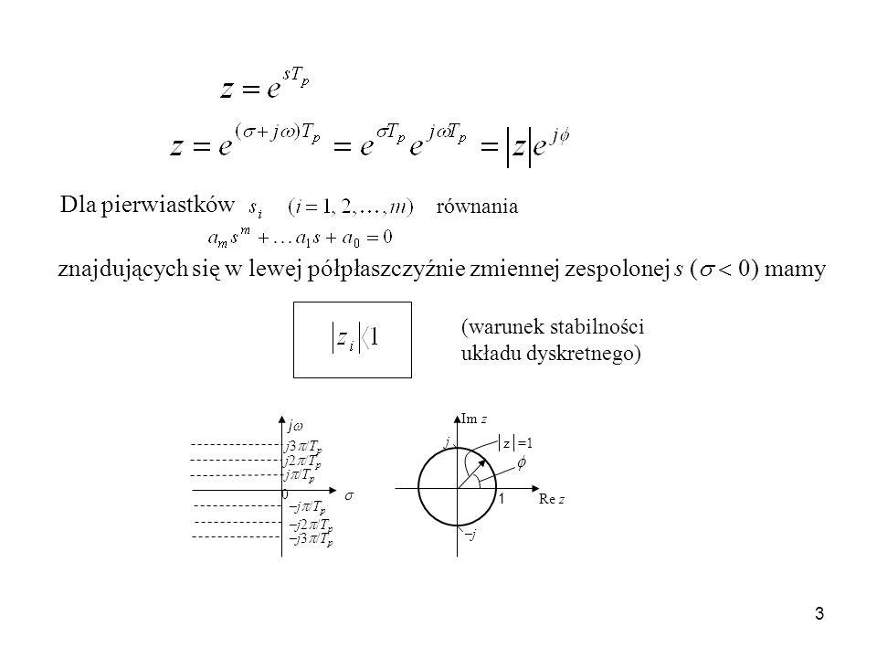 Dla pierwiastków równania (warunek stabilności układu dyskretnego) 