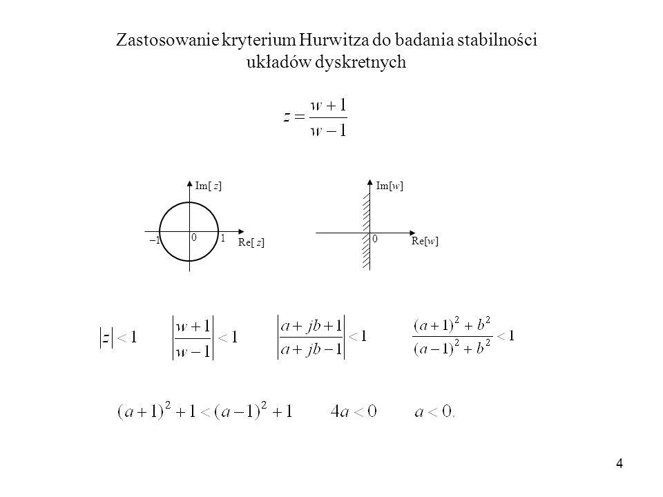 Zastosowanie kryterium Hurwitza do badania stabilności układów dyskretnych