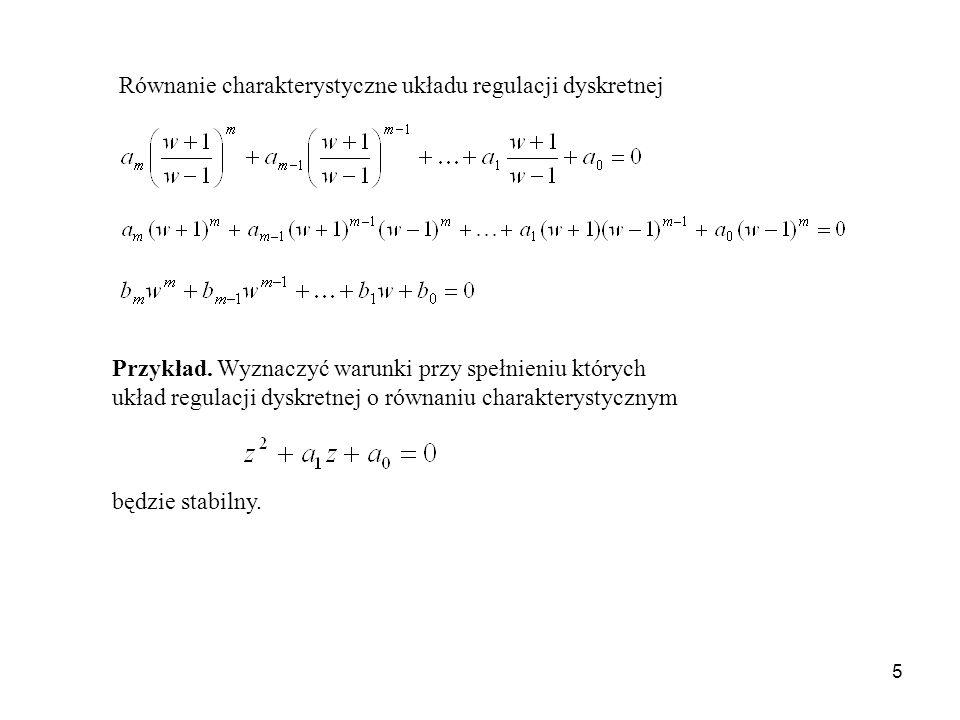 Równanie charakterystyczne układu regulacji dyskretnej