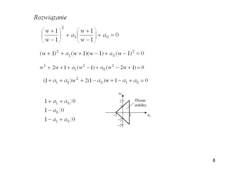 Rozwiązanie a1 2 Obszar stabilny 1 –1 1 a0 –1 –2