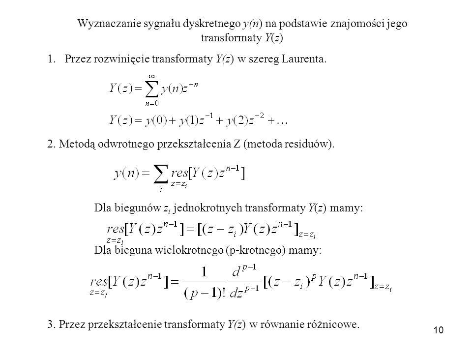 Wyznaczanie sygnału dyskretnego y(n) na podstawie znajomości jego transformaty Y(z)