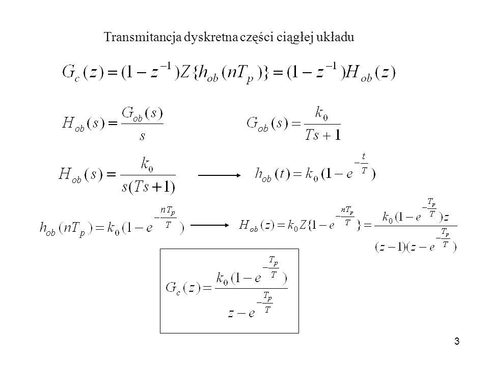 Transmitancja dyskretna części ciągłej układu