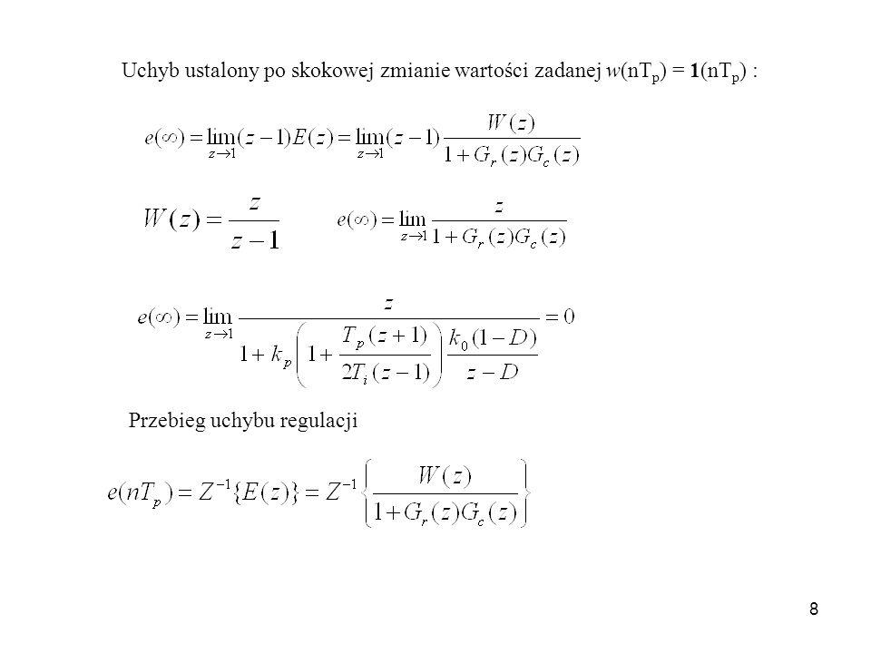 Uchyb ustalony po skokowej zmianie wartości zadanej w(nTp) = 1(nTp) :