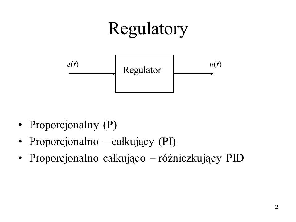 Regulatory Proporcjonalny (P) Proporcjonalno – całkujący (PI)