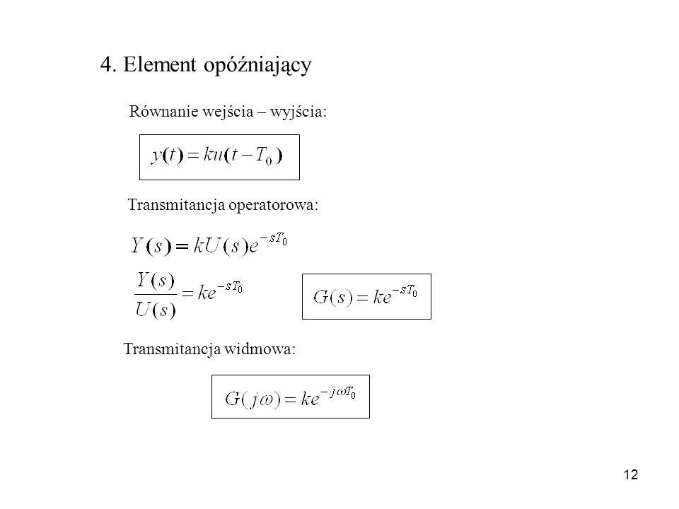 4. Element opóźniający Równanie wejścia – wyjścia: