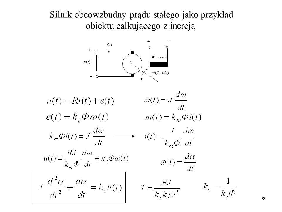 Silnik obcowzbudny prądu stałego jako przykład obiektu całkującego z inercją