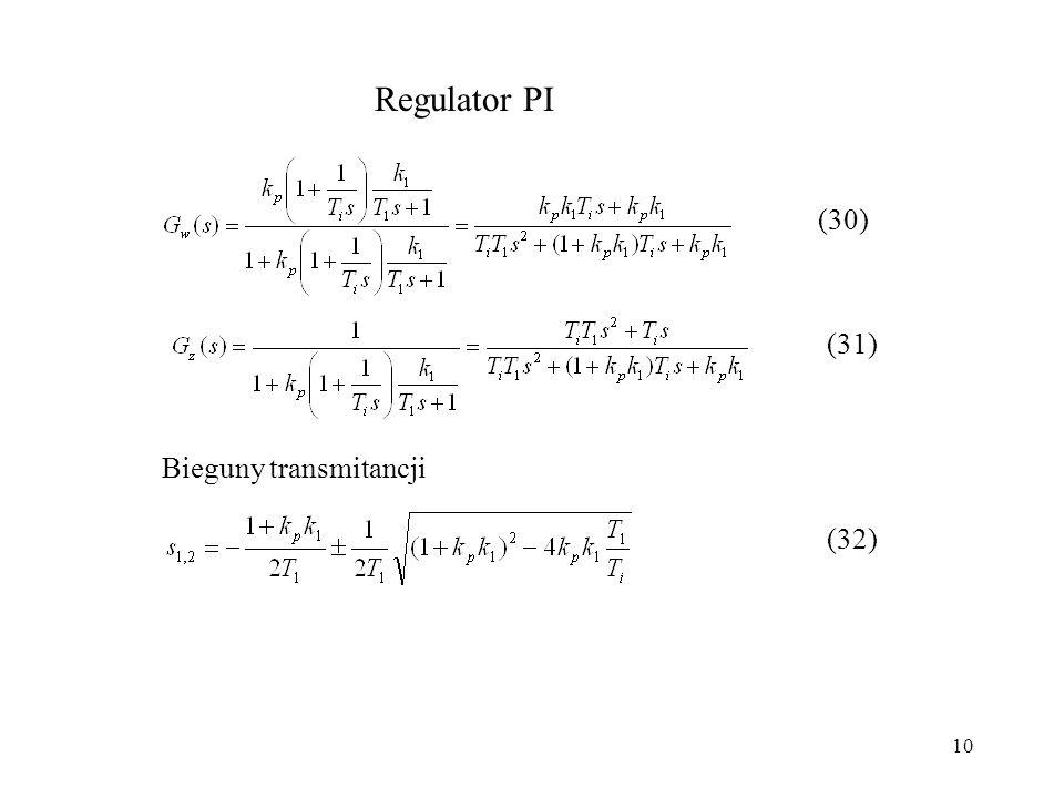 Regulator PI (30) (31) Bieguny transmitancji (32)