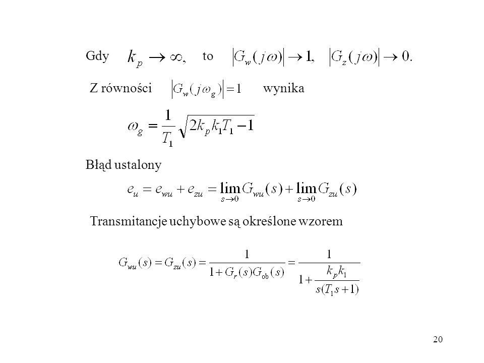 Gdy to Z równości wynika Błąd ustalony Transmitancje uchybowe są określone wzorem