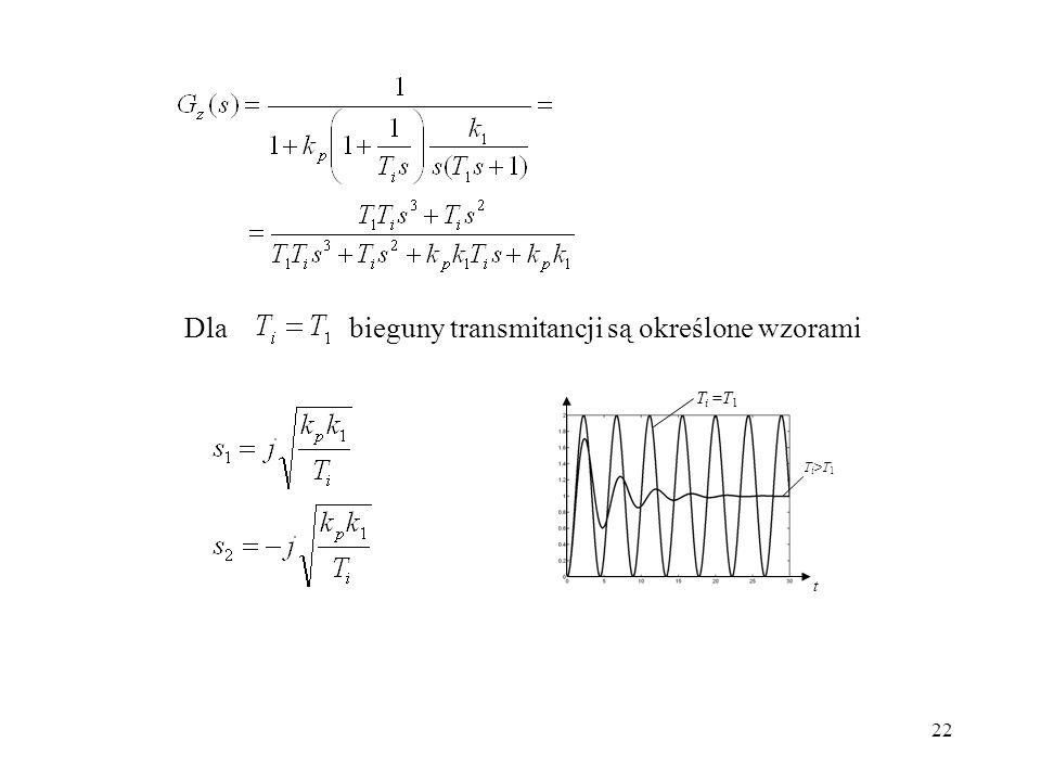 bieguny transmitancji są określone wzorami