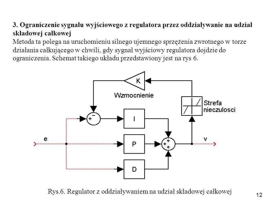 3. Ograniczenie sygnału wyjściowego z regulatora przez oddziaływanie na udział składowej całkowej