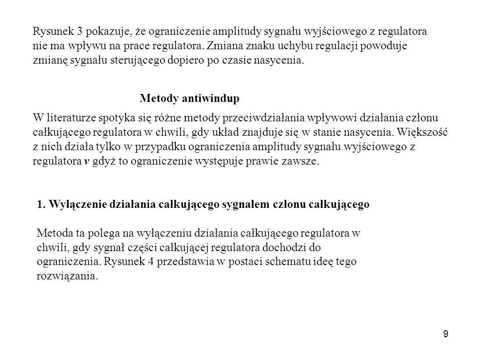 Rysunek 3 pokazuje, że ograniczenie amplitudy sygnału wyjściowego z regulatora nie ma wpływu na prace regulatora. Zmiana znaku uchybu regulacji powoduje zmianę sygnału sterującego dopiero po czasie nasycenia.