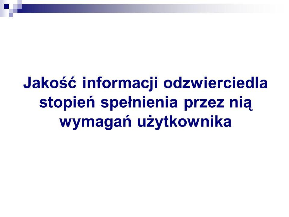 Jakość informacji odzwierciedla stopień spełnienia przez nią wymagań użytkownika