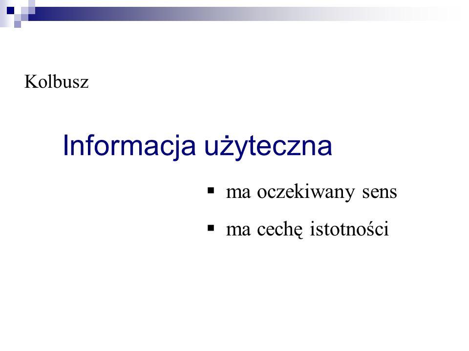 Kolbusz Informacja użyteczna ma oczekiwany sens ma cechę istotności
