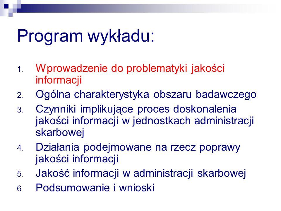 Program wykładu: Wprowadzenie do problematyki jakości informacji