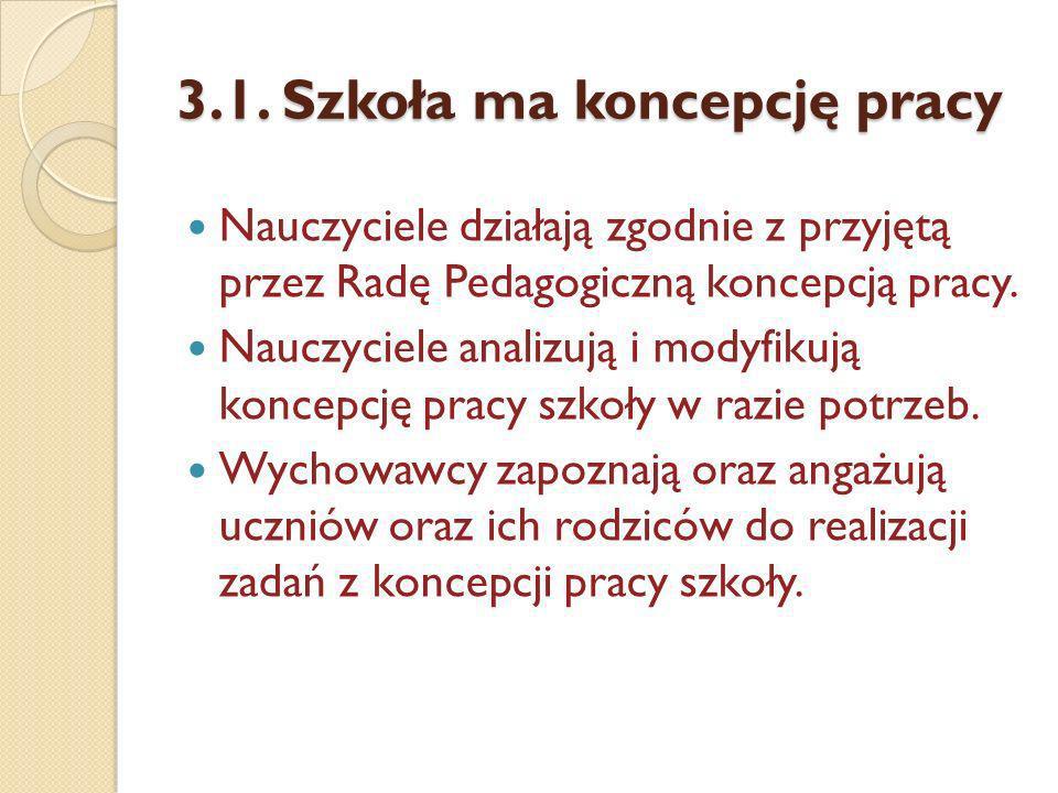 3.1. Szkoła ma koncepcję pracy