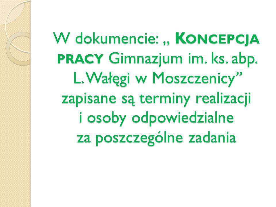"""W dokumencie: """" Koncepcja pracy Gimnazjum im. ks. abp. L"""