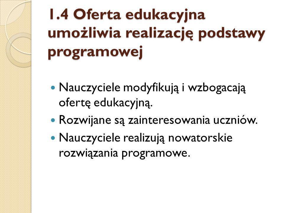1.4 Oferta edukacyjna umożliwia realizację podstawy programowej