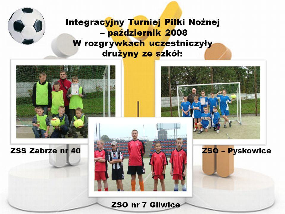 Integracyjny Turniej Piłki Nożnej – październik 2008 W rozgrywkach uczestniczyły drużyny ze szkół: