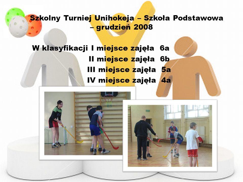 Szkolny Turniej Unihokeja – Szkoła Podstawowa – grudzień 2008