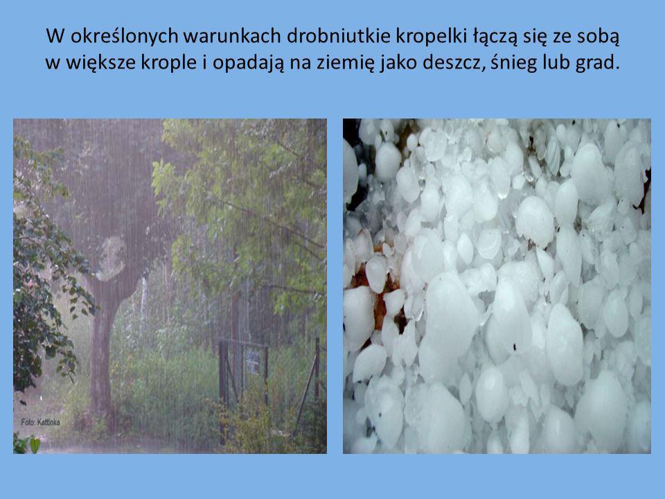 W określonych warunkach drobniutkie kropelki łączą się ze sobą w większe krople i opadają na ziemię jako deszcz, śnieg lub grad.