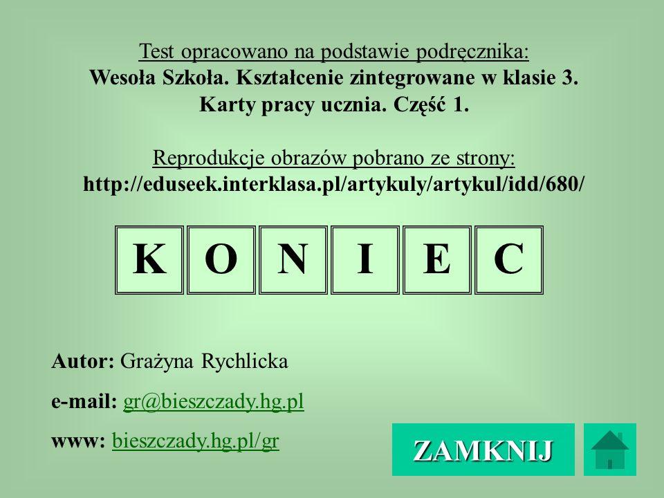 K O N I E C ZAMKNIJ Test opracowano na podstawie podręcznika: