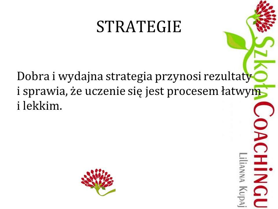 STRATEGIE Dobra i wydajna strategia przynosi rezultaty i sprawia, że uczenie się jest procesem łatwym i lekkim.