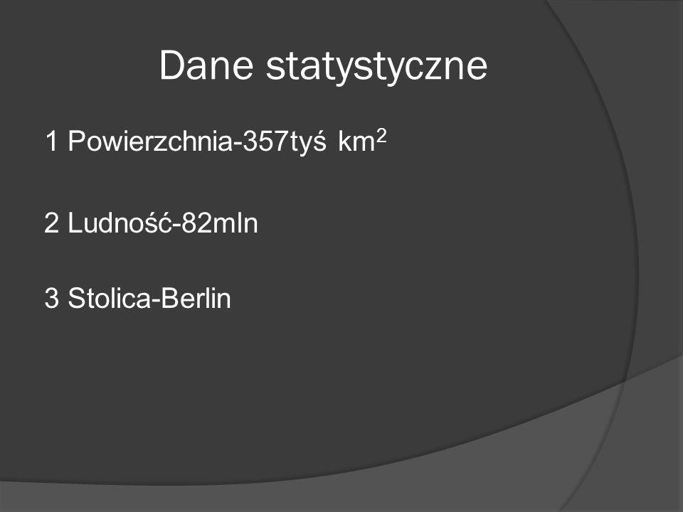 Dane statystyczne 1 Powierzchnia-357tyś km2 2 Ludność-82mln 3 Stolica-Berlin