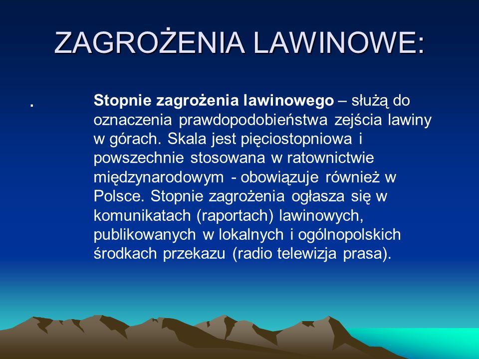 ZAGROŻENIA LAWINOWE: .