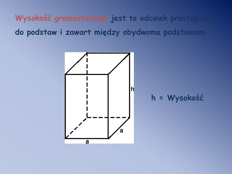 Wysokość graniastosłupa jest to odcinek prostopadły do podstaw i zawart między obydwoma podstawami